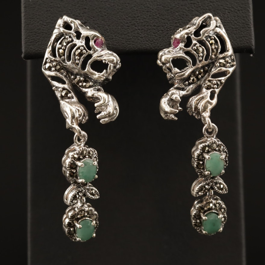 Sterling Emerald and Marcasite Tiger Motif Dangle Earrings