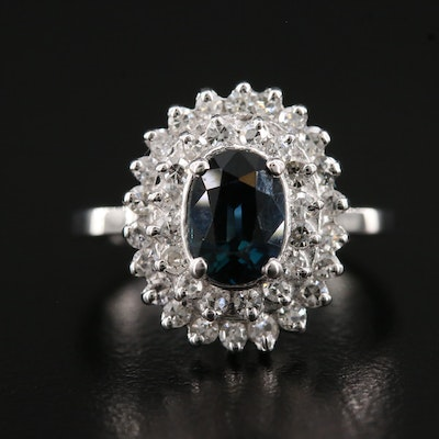 14K Sapphire Ring with Double Diamond Halo