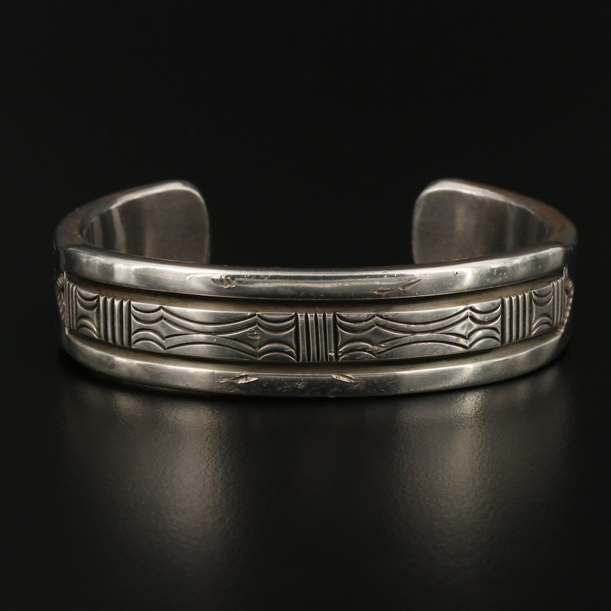 Bruce Morgan Navajo Diné Sterling Silver Etched Cuff
