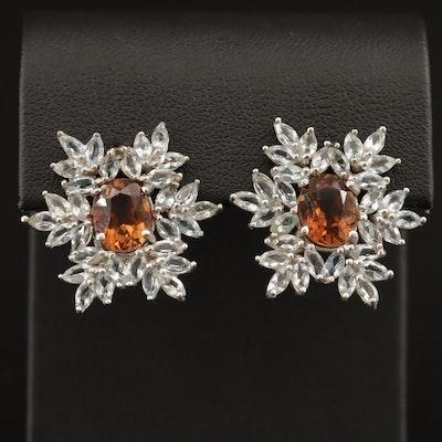 Sterling Topaz and Aquamarine Snowflake Motif Earrings