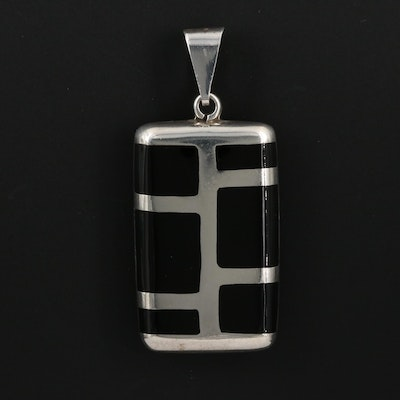 Sterling Silver Enamel Inlay Pendant