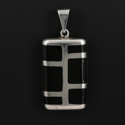 Sterling Silver Enamel Inlay Pendant