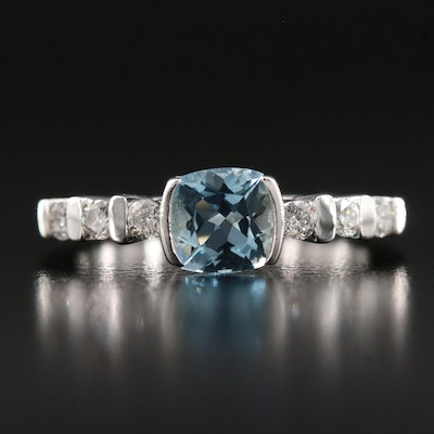 14K Aquamarine and Diamond Ring
