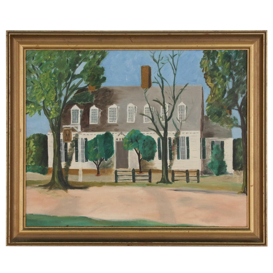 Naïve Oil Painting of Colonial Style House