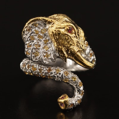 Sterling Fancy Color Sapphire and Garnet Elephant Bypass Ring
