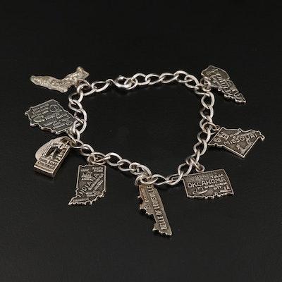 Vintage Sterling Silver Travelers Charm Bracelet