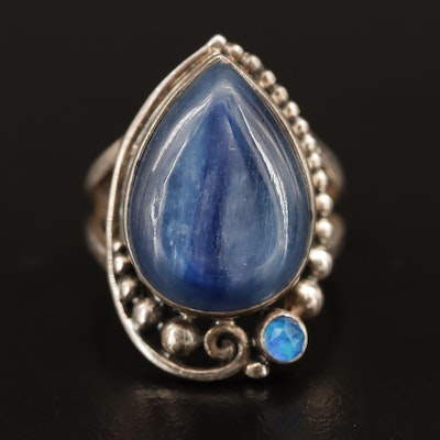 Sterling Kyanite and Quartz Doublet Ring