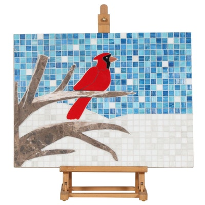 Cardinal on Branch Mosaic Mixed Media Composition with Easel