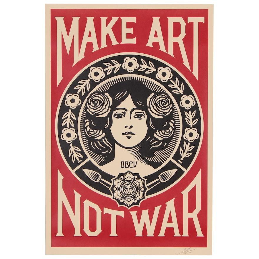 """Shepard Fairey Offset Poster """"Make Art Not War"""", 2019"""