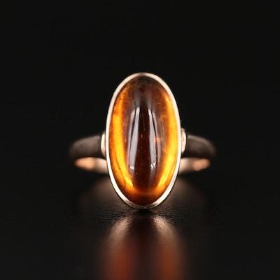 Vintage 10K Citrine Oval Ring