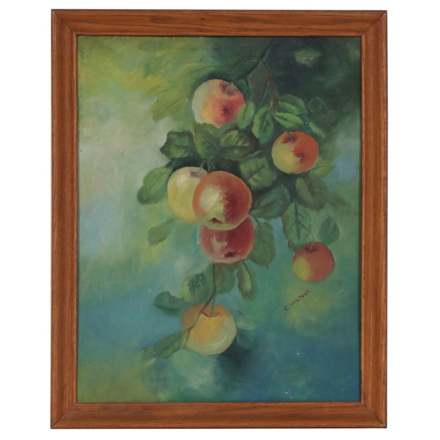 C. Werner Fruit on Branch Oil Painting, Mid to Late 20th Century