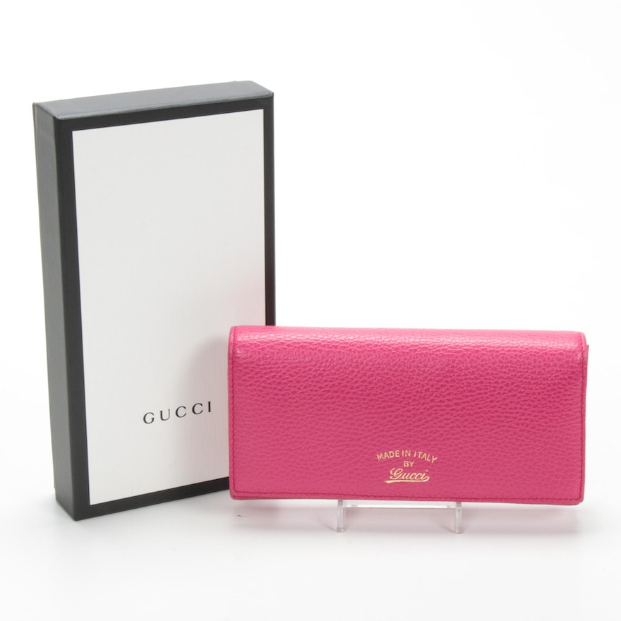 Gucci Pink Pebbled Leather Continental Wallet