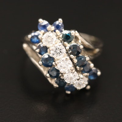14K Diamond and Sapphire Waterfall Ring