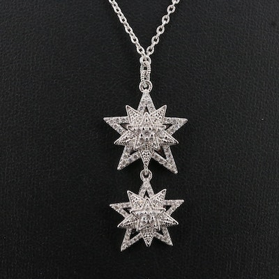 Sterling Silver Cubic Zirconia Star Dangle Necklace