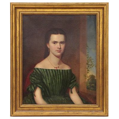 Oil Portrait of a Girl in Green, Mid 19th Century