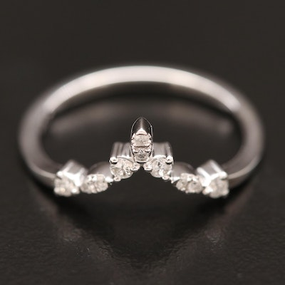 14K Diamond Chevron Shadow Band