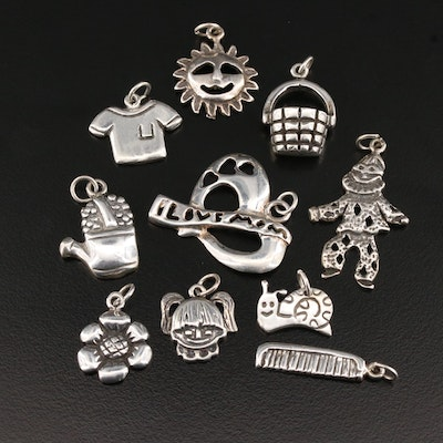 Sterling Silver Charm Selection Including Sun Face and Snail