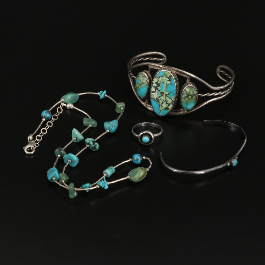 Western Sterling Silver Jewelry with Turquoise and Aventurine