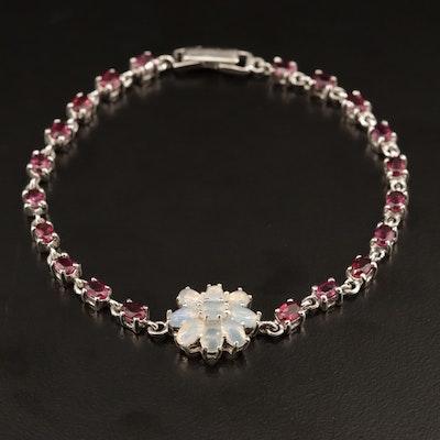 Sterling Opal and Garnet Bracelet