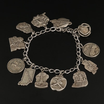 Sterling Silver Indiana Themed Charm Bracelet