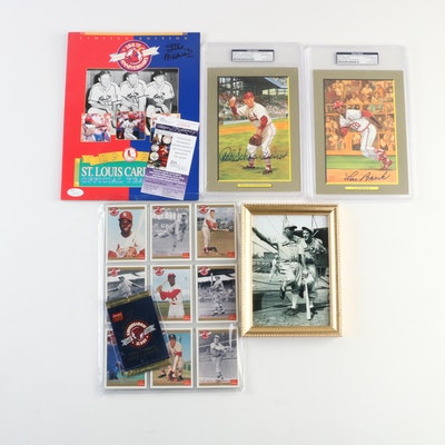 Brock, Schoendienst Signed Postcards, Musial Signed Yearbook, PSA/JSA and Cards