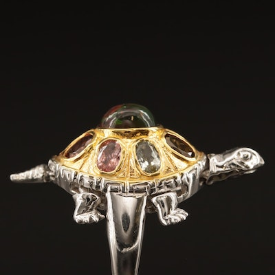Sterling Articulating Turtle Ring Including Aquamarine, Tourmaline and Opal