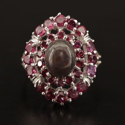 Sterling Opal and Garnet Ring