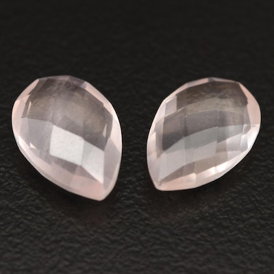 Loose 4.92 CTW Matched Pair of Rose Quartz