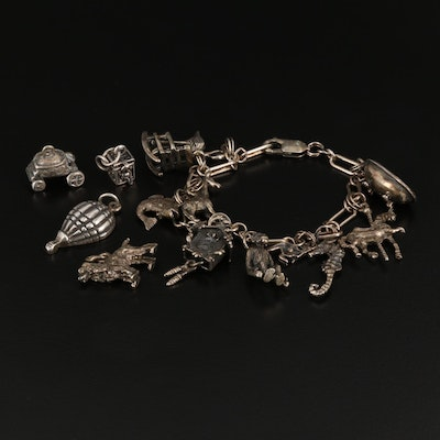 Vintage Sterling Charm Bracelet with Carousel Horse and Hot Air Balloon Charms
