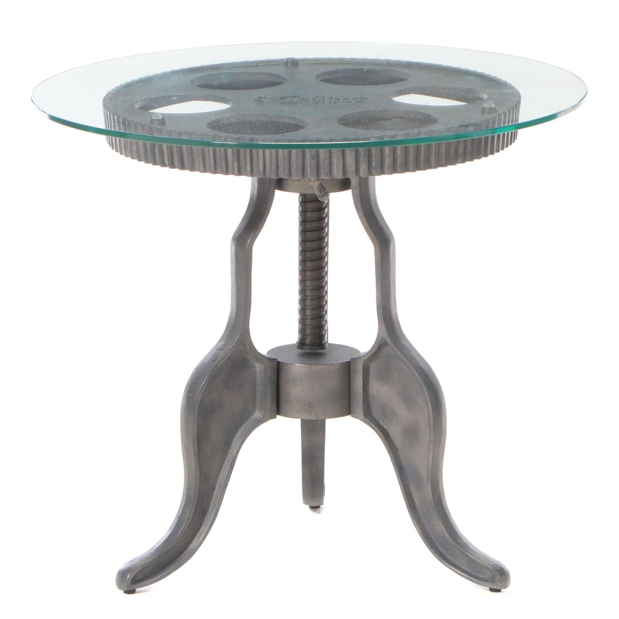 """Industrial Style Glass Top with Metal """"Kincaid 1946"""" Base Side Table"""