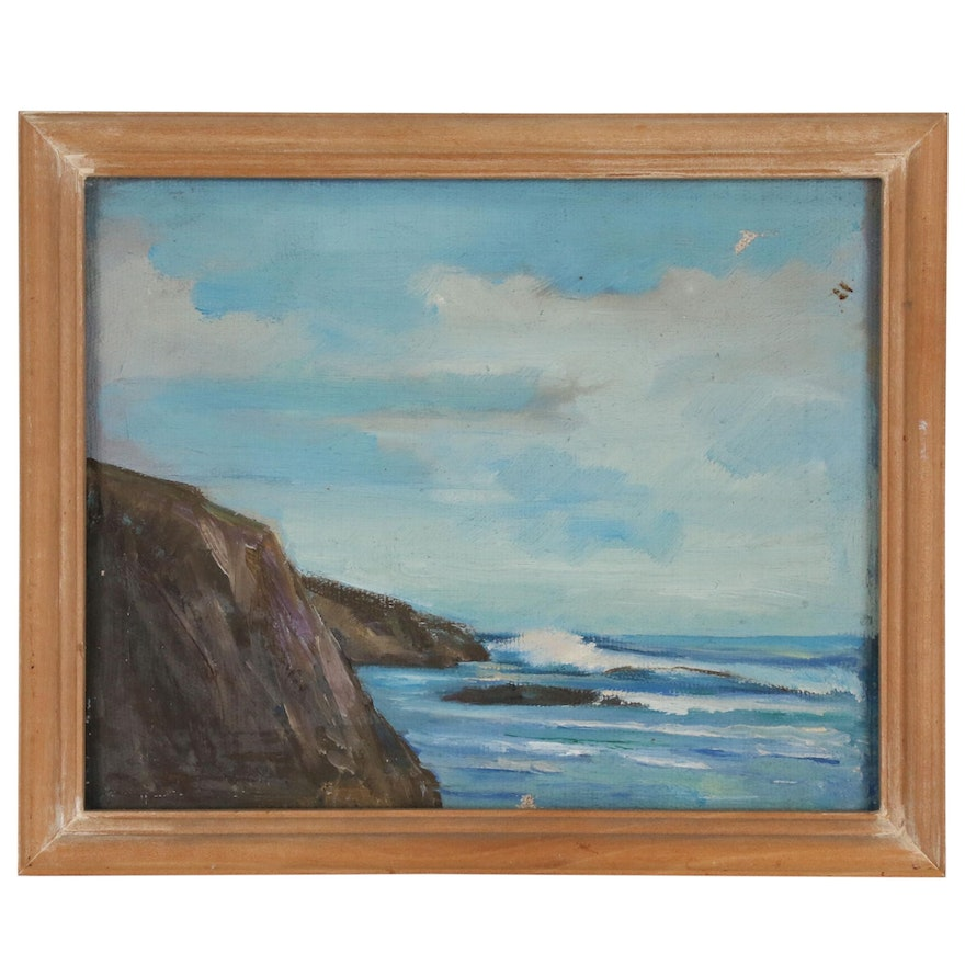 Rocky Coast Seascape Oil Painting, Early 20th Century