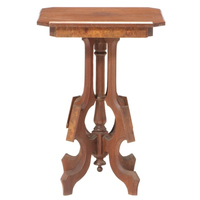 Victorian Walnut and Burl Walnut Side Table, Late 19th Century