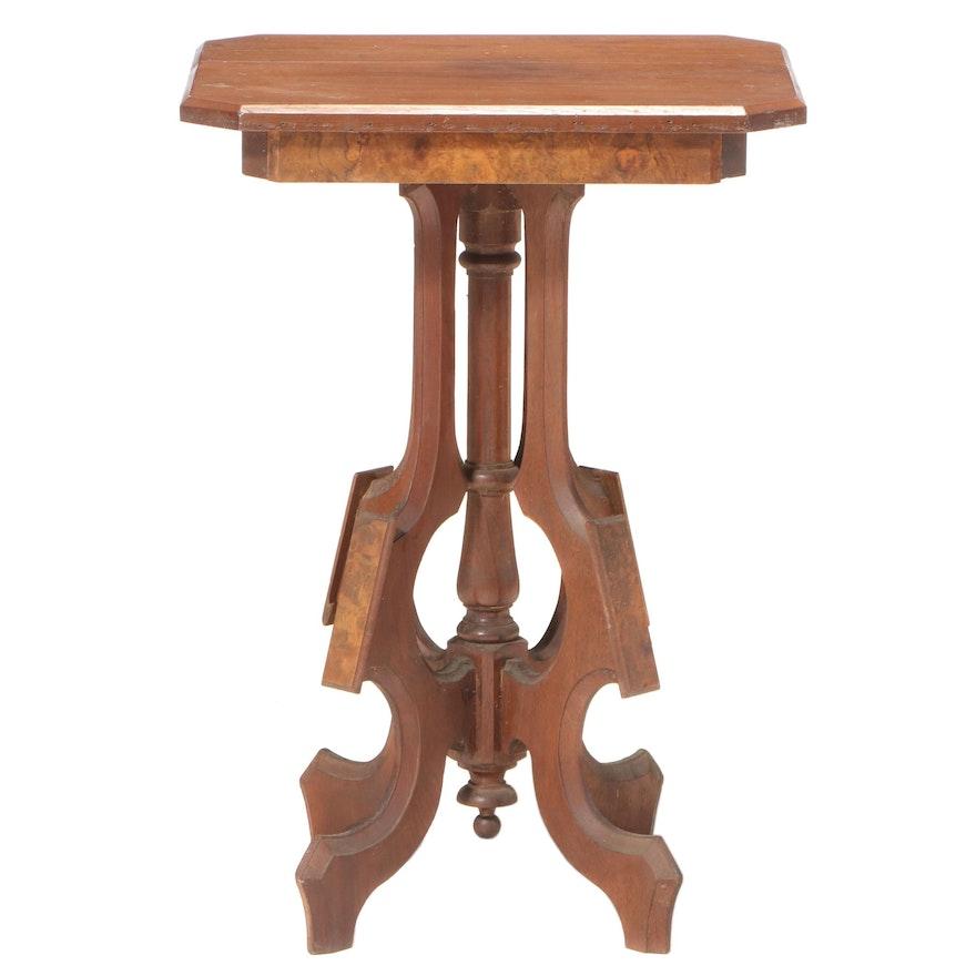 Victorian Walnut and Burl Walnut Side Table, Late 19th Century