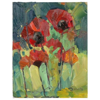 "Jose Trujillo Oil Painting ""Poppies"", 2020"
