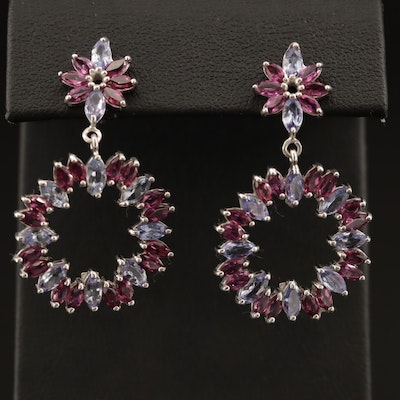 Sterling Silver Tanzanite and Garnet Dangle Earrings