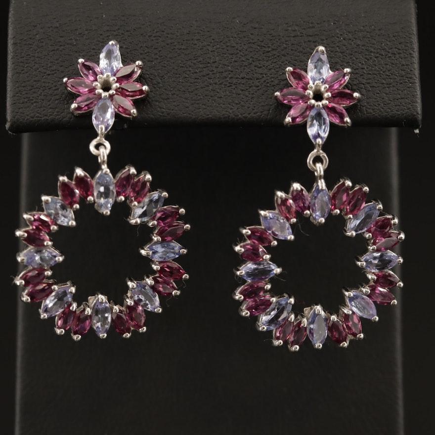 Sterling Silver Tanzanite and Garnet Dangle Earrings