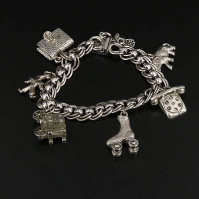 Sterling Silver Charm Bracelet with Rotary Phone and Roller Skate Charms