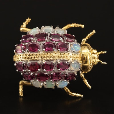 Sterling Silver Garnet and Opal Beetle Brooch