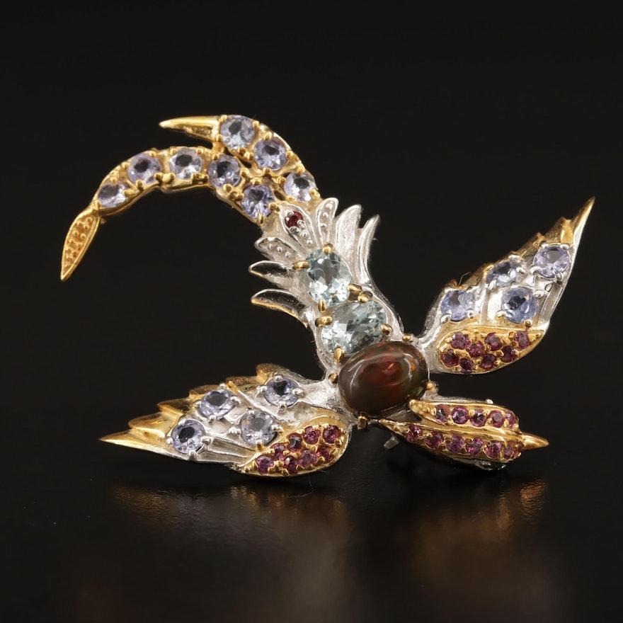 Sterling Silver Opal, Tanzanite and Garnet Soaring Bird Brooch