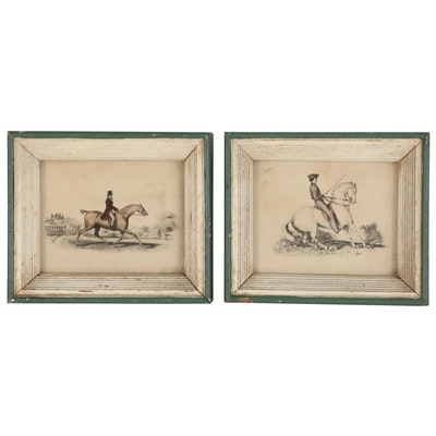 Miniature Hand-Colored Collotypes of Riders on Horseback