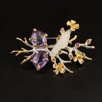 Sterling Carved Opal, Amethyst and Moonstone Bird in Flowers Brooch