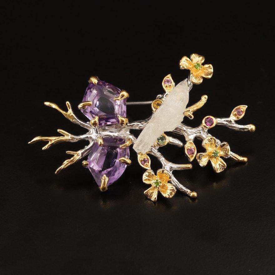 Sterling Carved Opal, Amethyst and Moonstone Bird in Flowers Brooch