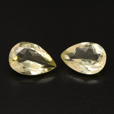 Loose 5.19 CTW Pear Faceted Match Pair Citrines