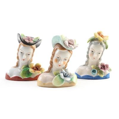 MK Japan Porcelain Busts, Mid 20th Century
