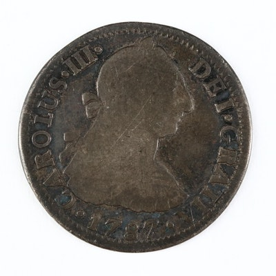 1787 Mexican Colonial 2-Reales Silver Coin of Carlos II