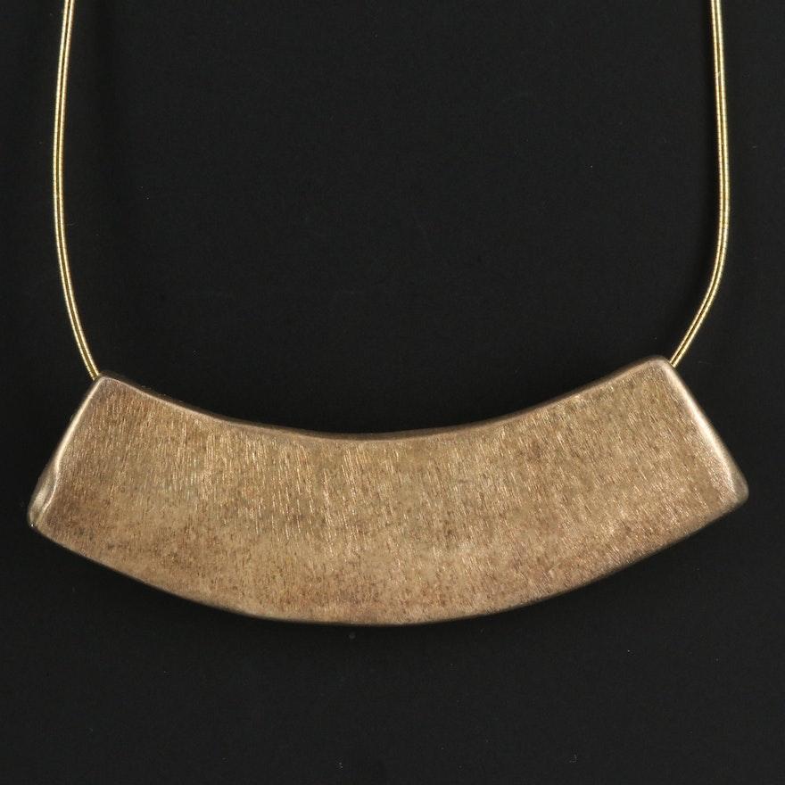 Electroform Bar Pendant Necklace with Aurora Borealis Glass Clasp