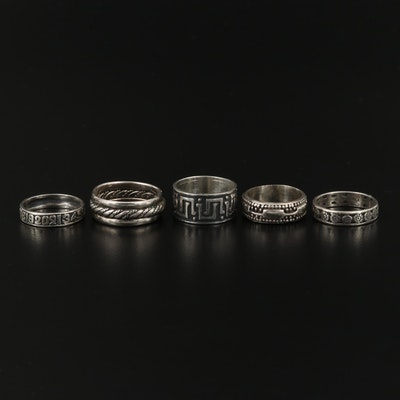 Collection of Sterling Silver Niello Bands Including Numeral and Floral Bands