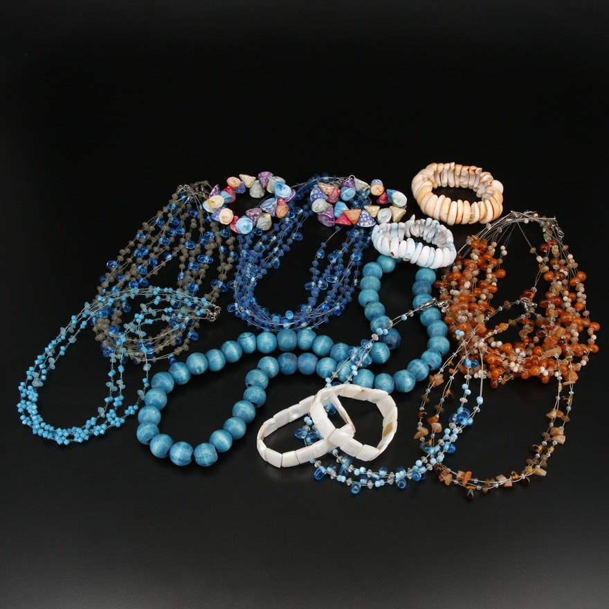 Collection of Beaded Necklaces and Bracelets Including Shell Bracelets