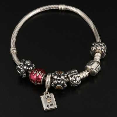 Pandora Sterling Silver Charm Bracelet with Floral Charms