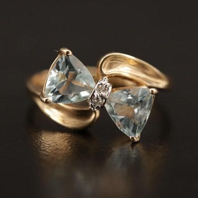 Vintage 10K Aquamarine and Diamond Stylized Bow Ring